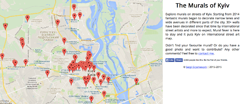 The online mural map shows a dense concentration of art in the city center. Image from kyivmural.com.