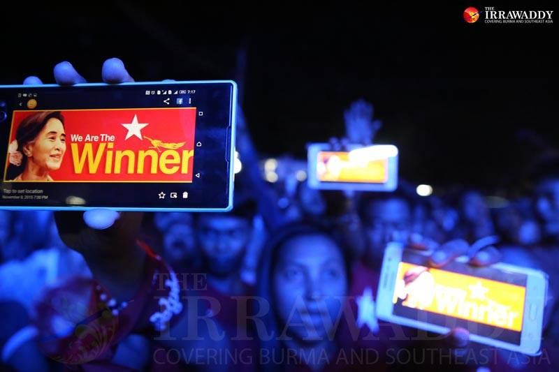 Supporters of the opposition National League for Democracy celebrate the party's historic election win on Nov. 8, 2015. Photo by J Paing / The Irrawaddy