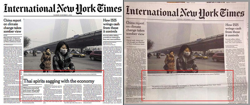 (Left) The normal 1st December 2015 Issue of the International New York Times. (Right) The same paper sold in Thailand. Image and caption from Prachatai.