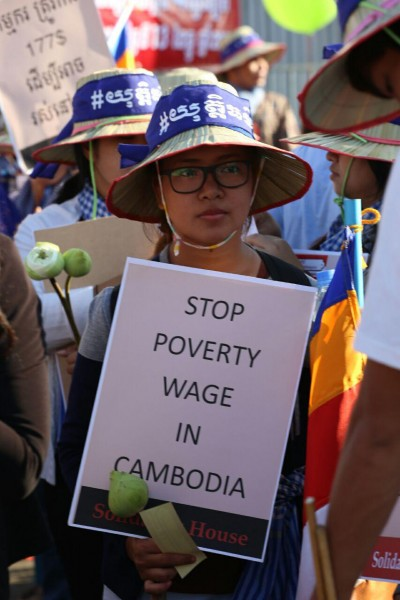 One of the demands of activist groups in Cambodia is to raise the country's monthly minimum wage. Photo from Licadho, a human rights group