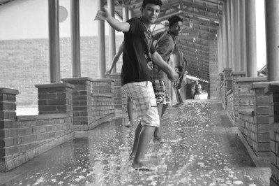 Students cleaning occupied state school Ismael Silva, in Goias state capital Goiania.