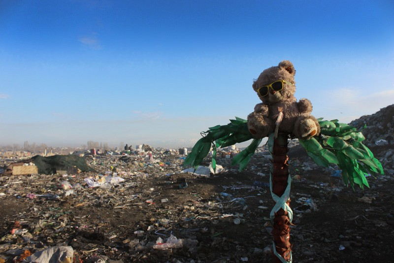 A teddy bear at the dump. In tact items are often washed and resold on Bishkek's markets. Photo by Azamat Imanaliev. Used with permission.