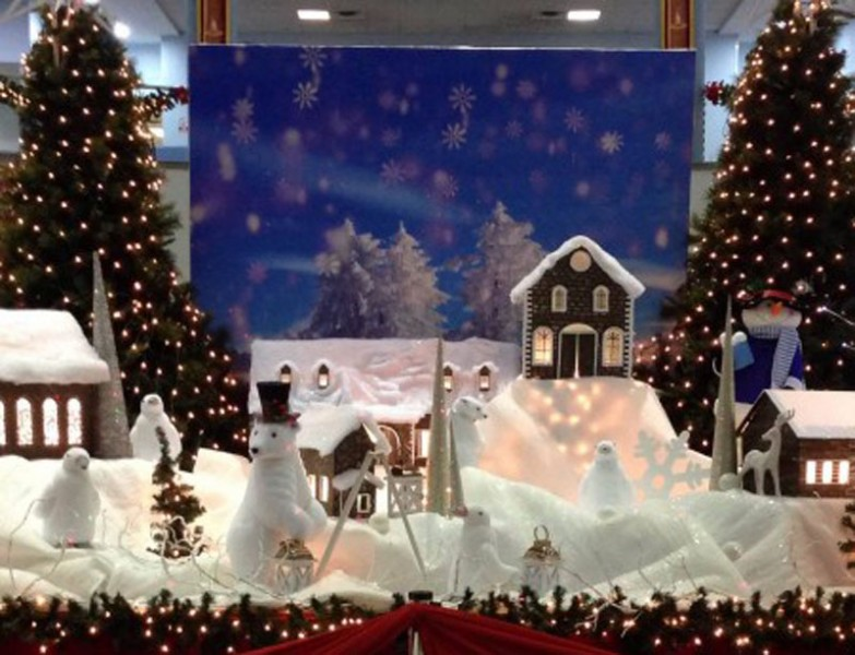 The winter-themed Christmas decor at Trinidad's international airport; photo by Gregory McGuire, used with permission.