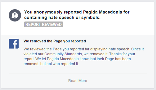 Facebook notification to the users who have continuously reported this page, inform that Facebook has removed this page because it violates its Community Standards.