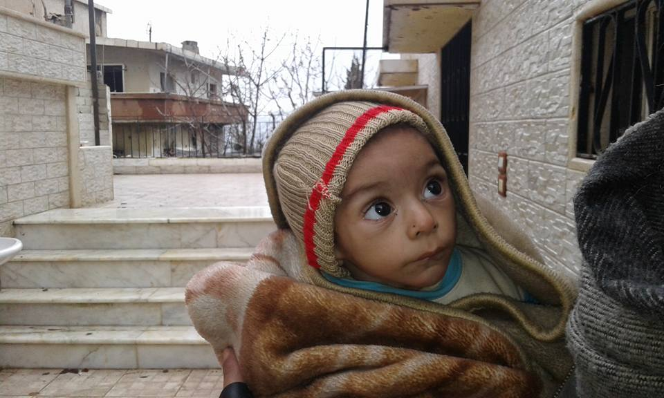 A Syrian child from Madaya, besieged for the past six months. Photo credit: Madaya page on Facebook