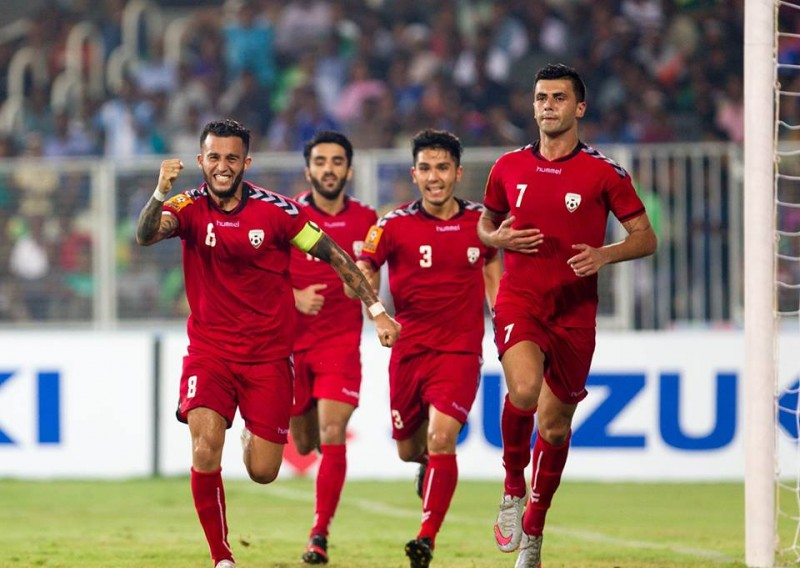 Afghanistan's national football team take the lead against India. Shared by the Afghan Football Federation via the federation's official Facebook group.