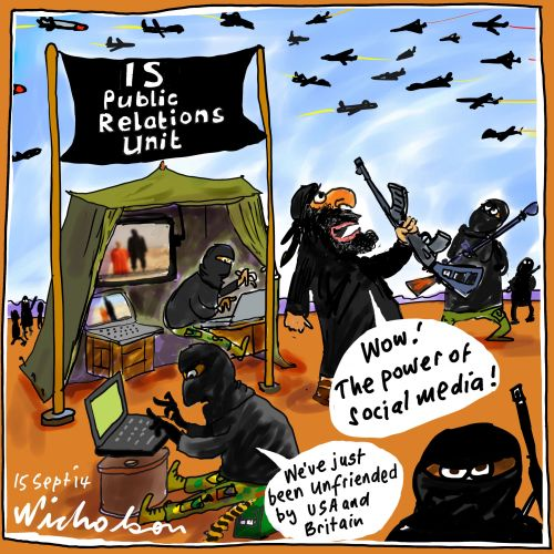http://nicholsoncartoons.com.au/is-isil-iraq-sunni-extremist-caliphate-social-media-public-relations-atrocities-media-cartoon-2014-09-15.html