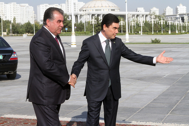 "Tajik President Emomali Rahmon (left) is being welcomed by his Turkmen counterpart Gurbanguli Berdimukhammedov in Ashkhabad, capital of Turkmenistan. Picture is from the official news agency of Tajikistan ""Khovar"""