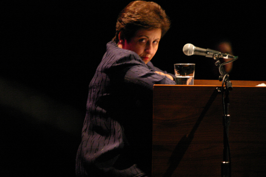 Shirin Ebadi gives a lecture on Islam and Democracy and their foundations in human rights at the University of California Santa Barbara. Photo by Ana Elisa Fuentes on Flickr. (CC BY 2.0)