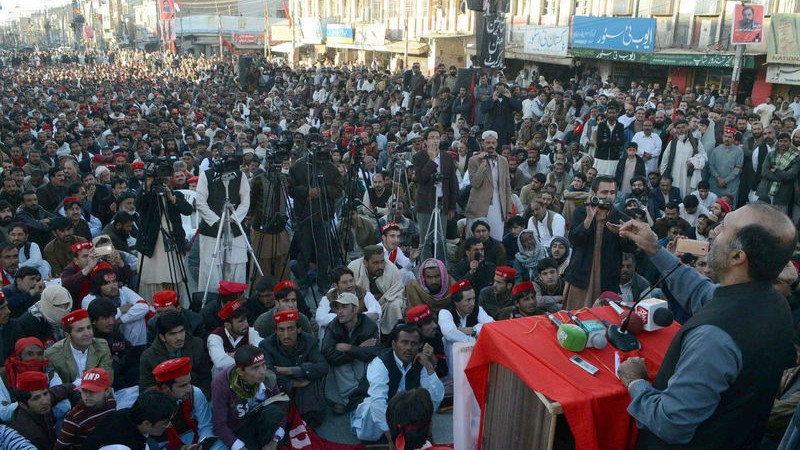 Activists of Awami National Party (ANP) are protesting against changing of Gwadar-Kashgar Economic Corridor's route. Image by ppiimages. Copyright Demotix (1/12/2015)