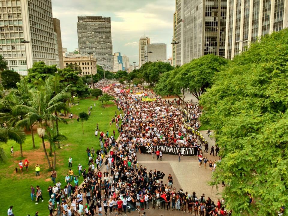 Foto da manifestação em São PAulo. Imagem do perfil do Facebook do PSTU Nacional