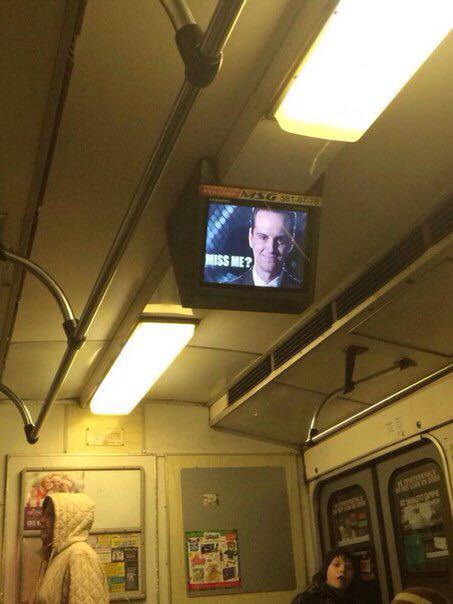 A photo capturing the sudden appearance of Moriarty on subway screens. Image from Nash Kiev Facebook community.