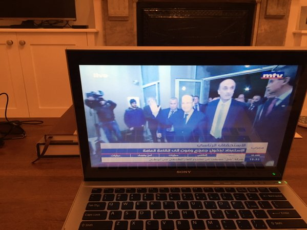 """Hell is freezing over,"" quips Anthony Elghossain as he watches the Ooun-Geagea agreement playing out on his computer. Photograph shared on Twitter."