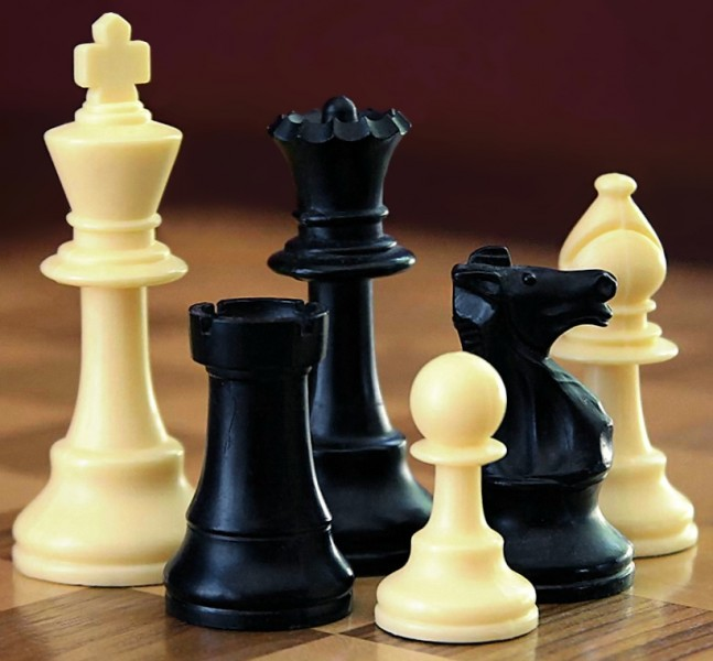 Chess pieces – left to right: king, rook, queen, pawn, knight and bishop. Photograph by Alan Light, from Wikipedia, used under CC BY-SA 3.0