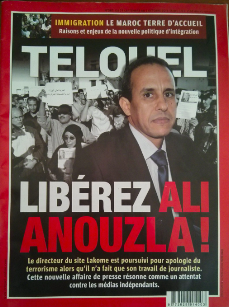 Cover of TelQuel Magazine after the arrest of journalist Ali Anouzla.