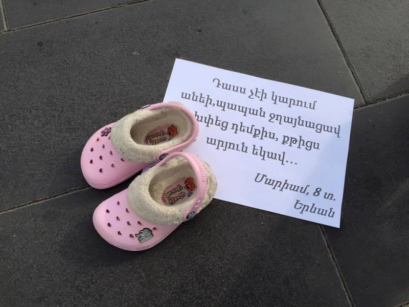 A group of activists and NGOs organized a public exhibition on family violence in Armenia.