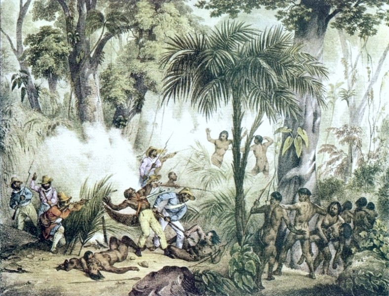 Illustration of a fight between indigenous people and militias during Brazil's Colonial era, by Johann Moritz Rugendas | Image: Public domain