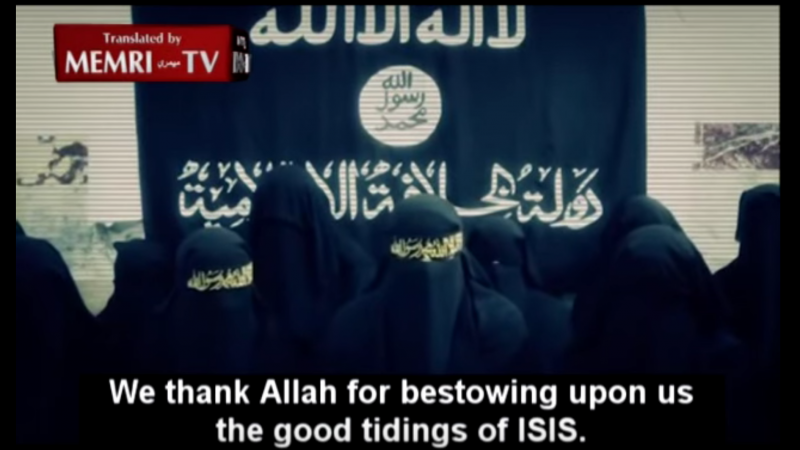 Screenshot from video: Students at Islamabad's Jamia Hafsa Call to Support ISIS, Avenge Bin Laden's Death. Click on the image to watch the video.