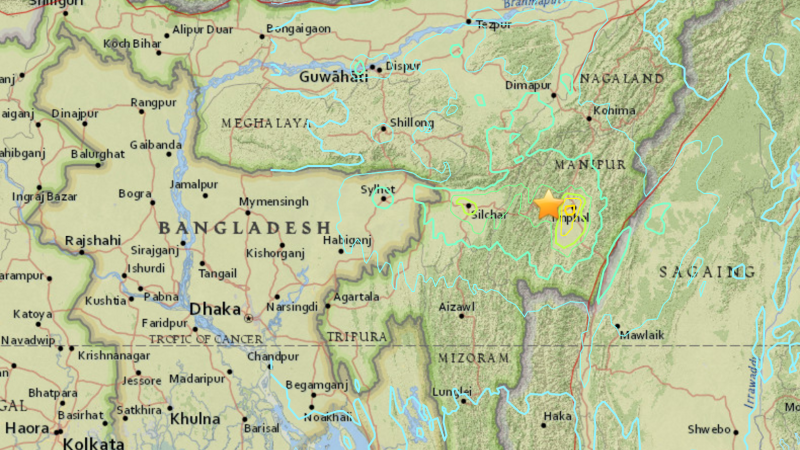 Earthquake location  29km W of Imphal, India. Screenshot of map from USGS website. Public Domain.