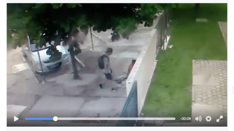Security camera footage shows suspect approaching mother and child. Photo: ScreenShot