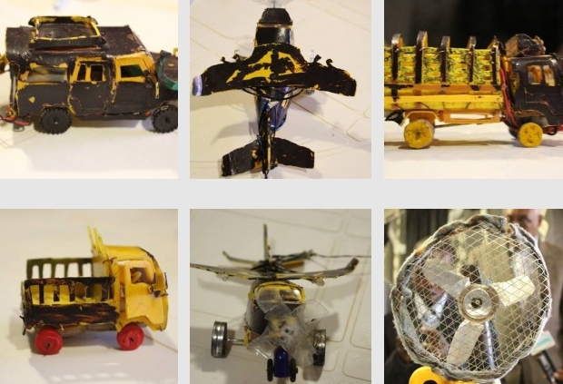 Screenshot of images of toys assembled by. Photos taken from the information department of the President of Puntland and used with permission.