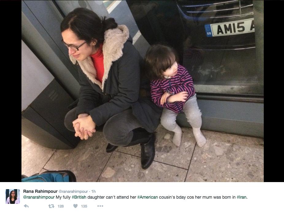 Rana Rahimpour, reportera de la BBC, publicó varios tuits en los que relató cómo a ella y a su hija se les impidió volar a Estados Unidos en aplicación de la ley H.R. 158. Foto de la cuenta de Rahimpour en Twitter