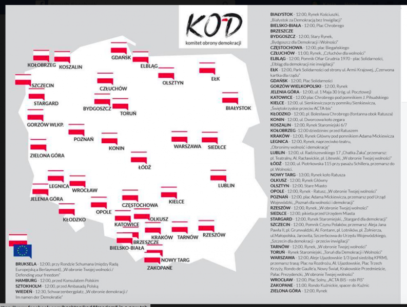 Protestas convocadas a favor de la protección de la libertad y contra la vigilancia en numerosas ciudades dentro y fuera de Polonia. Fuente: captura de pantalla del «Komitet Obrony Demokracji»