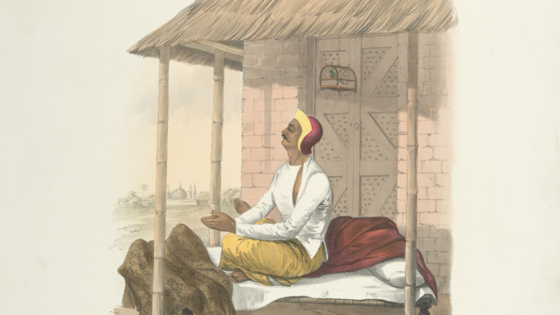 A Brahmin praying in the morning. (1851) Lithographer Day and Son. Image from The New York Public Library Digital Collections