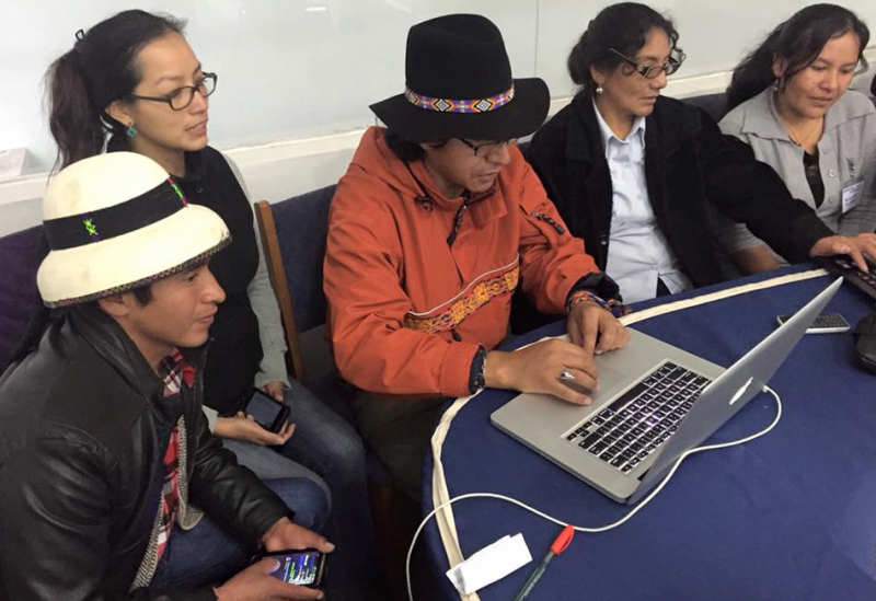 Training workshop at Indigenous Language Digital Activism workshop in Cusco, Peru.