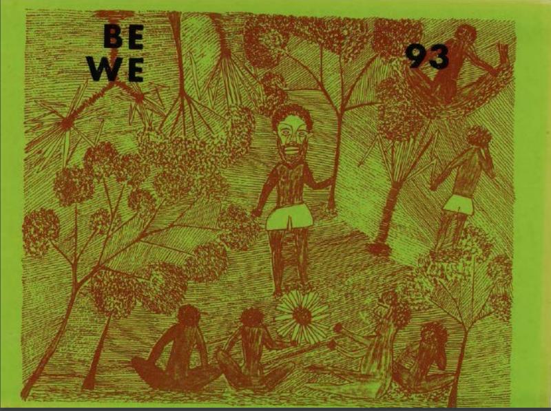 """Titelblatt des Buchs """"BE WE 93"""", Autor: Marrŋanyin, B. Illustrator: Wadaymu, P., geschrieben in der australischen Sprache Gupapuyŋu, aus dem """"Living Archive of Aboriginal Languages""""."""