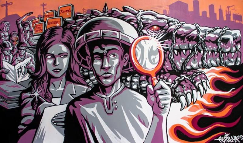 Ang Gerilya ha dedicato quest'opera a sostegno della campagna per il passaggio del disegno di legge sulla libertà dell'informazione. La misura proposta è ancora in corso al Congresso, nonostante l'impegno del presidente di far passare il disegno di legge nel 2010. Foto dalla pagina Facebook di Ang Gerilya