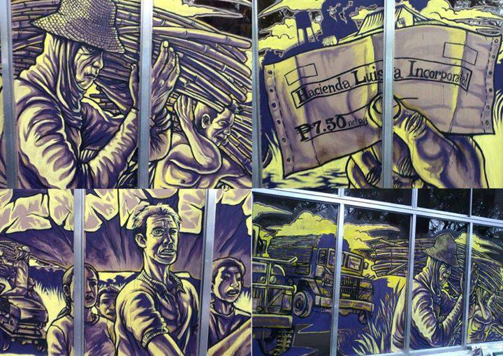 Un'opera raffigurante la lotta dei contadini a Hacienda Luisita, una tenuta agricola soggetta alla riforma agraria ma che continua ad essere di proprietà della famiglia del presidente del paese. Immagine da Ang Gerilya
