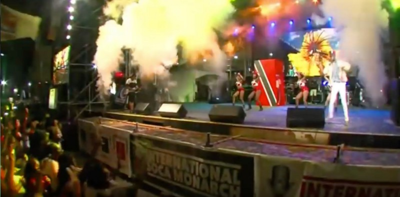 Screen shot of a YouTube video of Pternsky's performance of 'Non Stop' at the International Soca Monarch Semi Final, 2016
