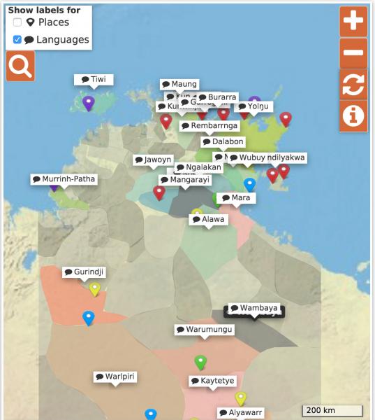 Die Karte des Living Archive kann nach Orten oder Sprachen durchsucht werden.