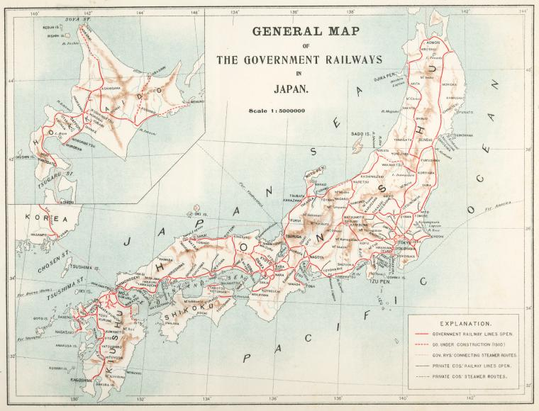 General map of the Government Railways in Japan