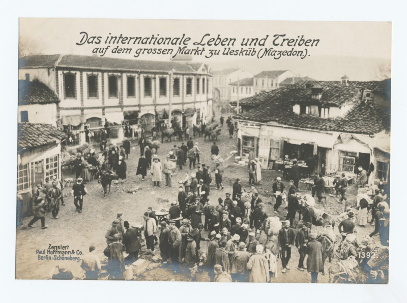 Ethnic diversity displayed through various attires at the Skopje market during World War I. Photo from The New York Public Library Digital Collections.