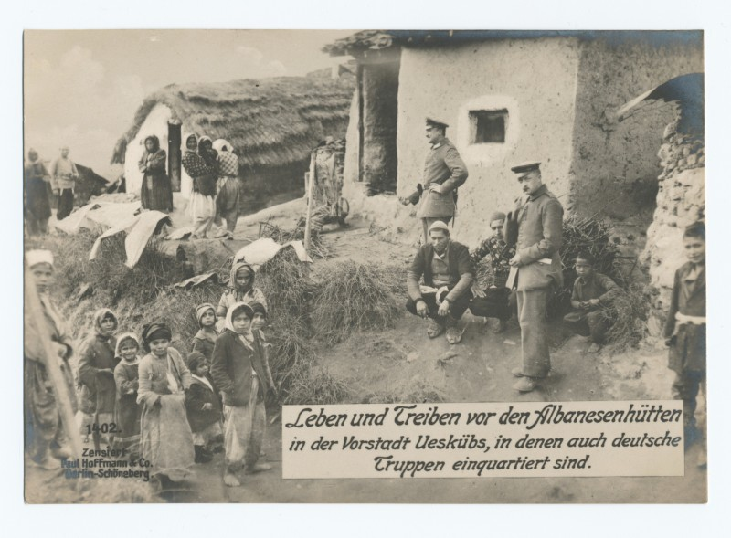 German troops quartered in the suburbs of Skopje in the houses of local ethnic Albanians. Photo from The New York Public Library Digital Collections.