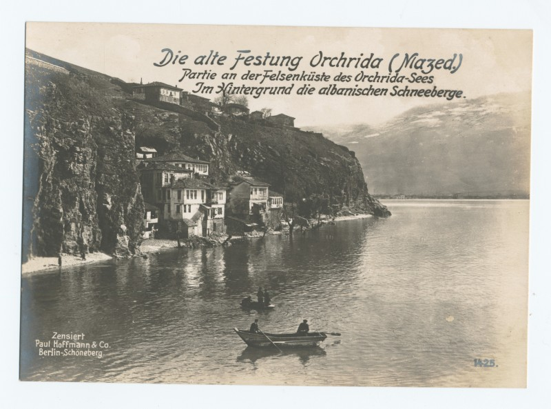 Carte postale allemande de la 1e Guerre Mondiale montrant une vue d'Ohrid, Macédoine. Photo issue des collections numériques de la Bibliothèque publique de New York.