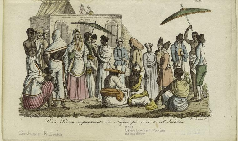 Various men and women in Hindustan (India). (1823 - 1838) Sketch by Andrea Bernieri . Photo from The New York Public Library Digital Collections
