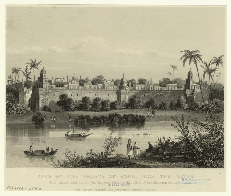 View of the Palace of Agra, from the river. (1859)
