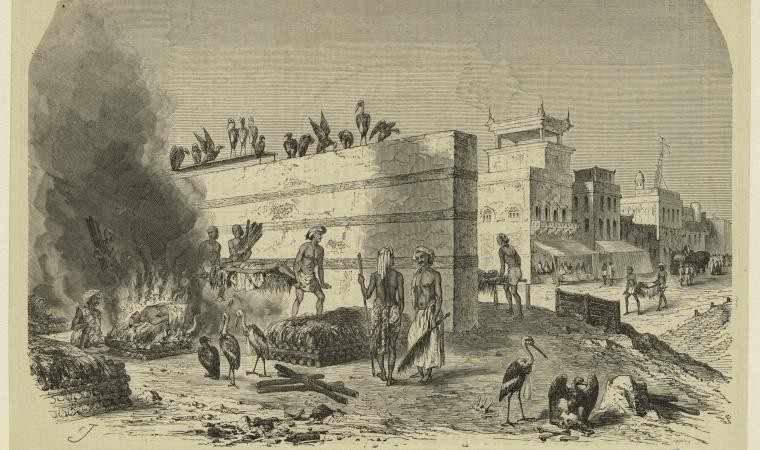 The cremation ghat at Calcutta. (1869-1871).