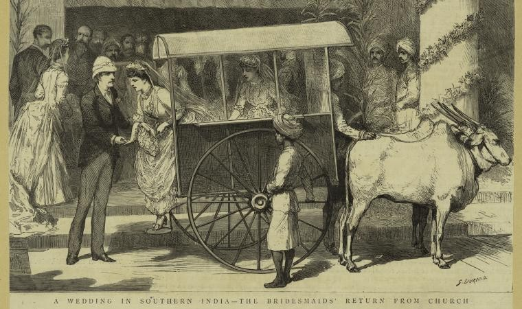 A wedding of British collonials in southern India--the bridesmaids' return from church. (29/1/1887). Sketch by Durand Simon. Photo from The New York Public Library Digital Collections