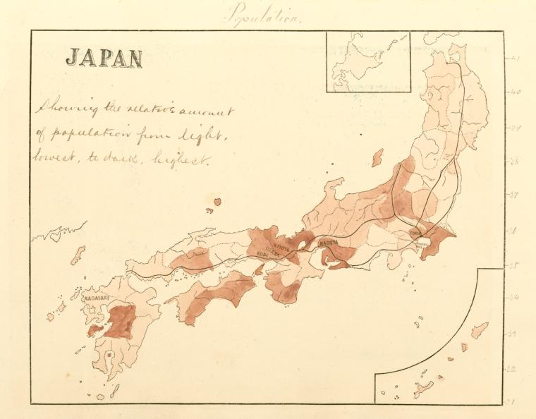 Japan, population, showing the relative amount of population from light, lowest, to dark, highest.
