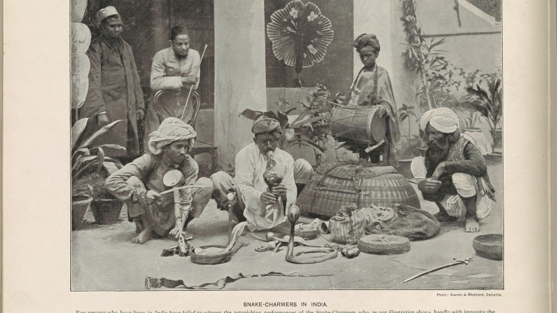 Snake-charmers in India (1897). Photo from The New York Public Library Digital Collections.