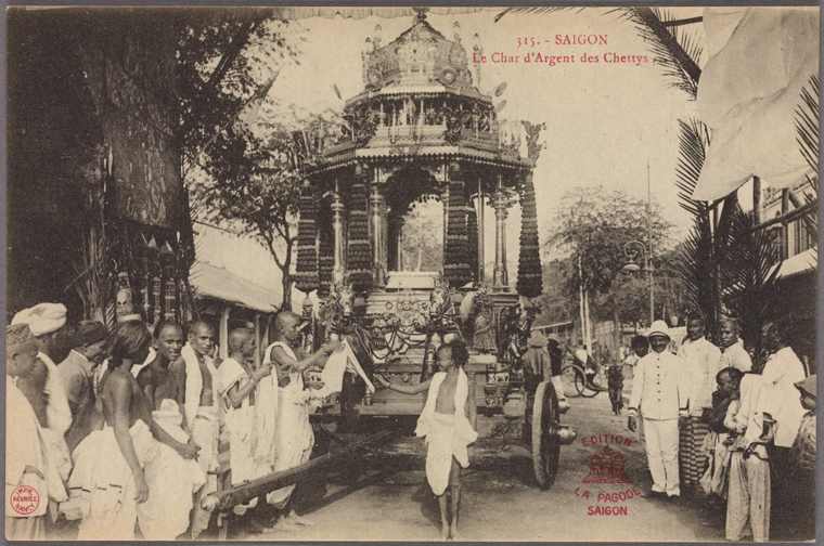 The silver chariot of the Chetties. A religious procession in Vietnam. Photo from The New York Public Library Digital Collections