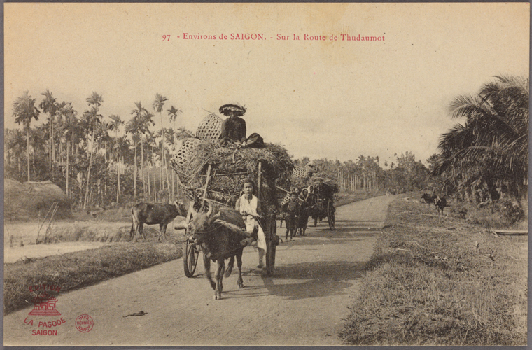 A wagon in a Saigon road. Photo from The New York Public Library Digital Collections. 1908