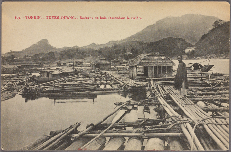 Log rafts in Tuyen-Quang province. Photo from The New York Public Library Digital Collections, 1900 - 1909.