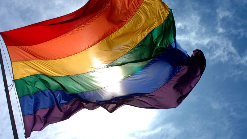 A rainbow flag, a common LGBT symbol. Image from Flickr, CC BY 2.0.