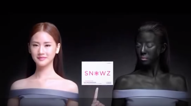 A screenshot of the skin whitening video ad posted on YouTube