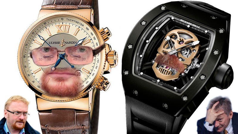 Dueling luxury watches. Vitaly Milonov's Maxi Marine Chronograph (left) vs. Dmitry Peskov's Richard Mille RM 52-01. Image edited by Kevin Rothrock.